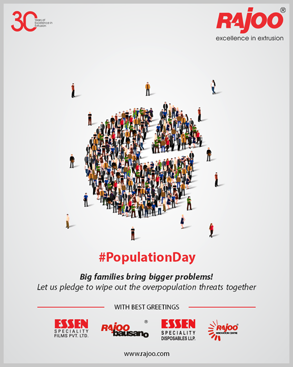 Big families bring bigger problems! Let us pledge to wipe out the overpopulation threats together.  #WorldPopulationDay #PopulationDay #WorldPopulationDay2019 #RajooEngineers #Rajkot #PlasticMachinery #Machines #PlasticIndustry