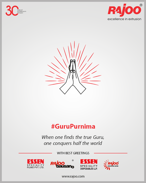 When one finds the true Guru, one conquers half the world  #GuruPurnima #GuruPurnima2019 #गुरुपुर्णिमा #IndianFestival #RajooEngineers #Rajkot #PlasticMachinery #Machines #PlasticIndustry