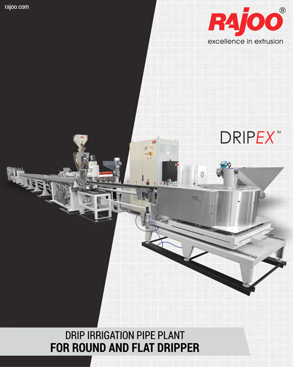 Rajoo offers drip irrigation extrusion systems for round and flat dripper with servo driven dripper insertion device, max output 250kg/hours. Dripex is equipped with two stainless steel Vacuum sizing tank and cooling System for precise water pressure, high corrosion resistant and long useful life. The 3-axis mechanical adjustment system with lateral position control allows quick precise positioning. The double belt haul-off is provided for optimum pulling force and to prevent ovality in the pipe.  #RajooEngineers #Rajkot #PlasticMachinery #Machines #PlasticIndustry