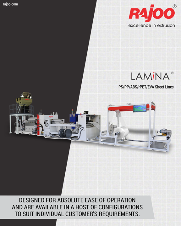LAMINA series of sheet lines are designed for absolute ease of operation and are available in a host of configurations to suit individual customer's requirements with output ranging from 110 kg/hr to 1000 kg/hr, width ranging from 540 mm to 1400 mm, in single to five-layer configuration for processing various polymers like PS, PP, PE and PET.   #RajooEngineers #Rajkot #PlasticMachinery #Machines #PlasticIndustry