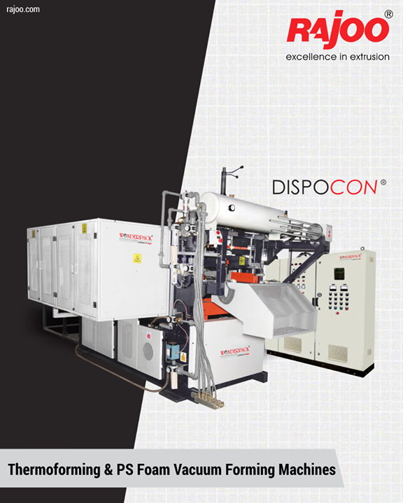 Dispocon vacuum formers are exceptionally sturdy, durable and low maintenance machines firmly established as industry's most energy-efficient and least vibrating vacuum formers with the patented trim press.  #RajooEngineers #Rajkot #PlasticMachinery #Machines #PlasticIndustry
