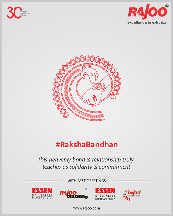 This heavenly bond & relationship truly teaches us solidarity & commitment.   #Rakshabandhan2019 #Rakshabandhan #HappyRakshabandhan #IndianFestivals #Celebrations #Festivities #RajooEngineers #Rajkot #PlasticMachinery #Machines #PlasticIndustry