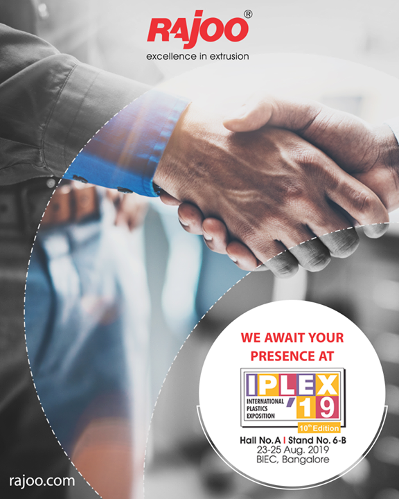 We await your presence at IPLEX 19  #RajooEngineers #Rajkot #PlasticMachinery #Machines #PlasticIndustry