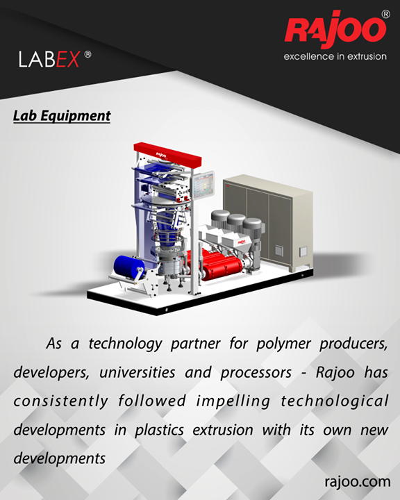 Rajoo has supplied 5 lab lines of various configurations to world's polymer giants like Reliance Industries & IOCL.  LabEX – Combo can be used as a laboratory line for testing and developing of new formulations and products, process and parameter control is of utmost significance. An innovative barrier sheet cum blown film line is one of its kinds in the whole world. This combo line consists of four extruders, screen changers, melt pumps, flat sheet die, Universal Co ex Five Layer blown film die head UCD® and fully automatic touchscreen-based integrated process control panel to give an output of up to 75 kg/hr. of co-extruded barrier sheets or films.  #RajooEngineers #PlasticMachinery #Machines #PlasticIndustry