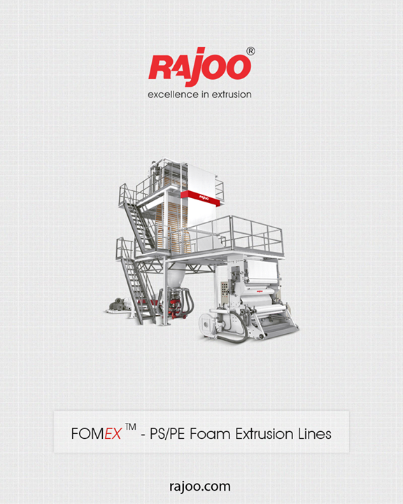 Rajoo Engineers Limited,India has done pioneering developments in polymer foam extrusion in India and have emerged as the only supplier of foam extrusion lines christened Fomex using both blown film (Fomex – B) and sheet extrusion (Fomex – S) process using either chemical or physical foaming.  #RajooEngineers #PlasticMachinery #Machines #PlasticIndustry