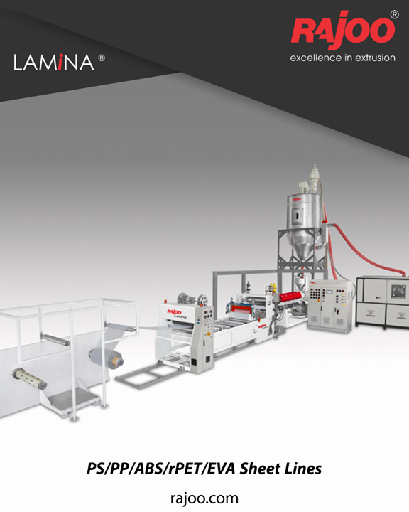 LAMINA series of sheet lines are designed for absolute ease of operation and are available in a host of configurations to suit individual customer's requirements with output ranging from 110 kg/hr to 1000 kg/hr, width ranging from 540 mm to 1400 mm, in single to five-layer configuration for processing various polymers like PS, PP, PE and PET.  #RajooEngineers #PlasticMachinery #Machines #PlasticIndustry