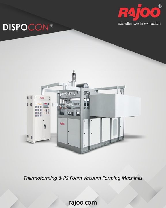 Dispocon vacuum formers are exceptionally sturdy, durable and low maintenance machines firmly established as industry's most energy efficient and least vibrating vacuum formers with patented trim press. The offering includes models of both
