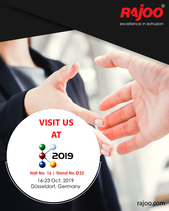 Visit us at K2019!  #RajooEngineers #PlasticMachinery #Machines #PlasticIndustry
