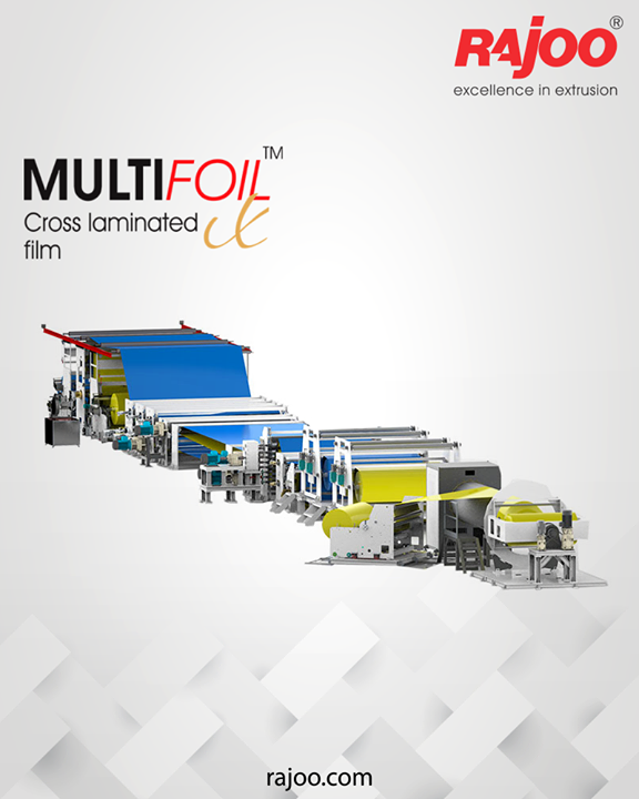 Rajoo offers Multifoil – X, a combo product of 3 layer blown film line along with spiral cutting system with winder and stretching & laminating line backed by proven engineering experience of Rajoo for over three decades for Cross Laminated film aimed at helping with specific yet customized insights that are relevant to market specific challenges.  #RajooEngineers #Rajkot #PlasticMachinery #Machines #PlasticIndustry