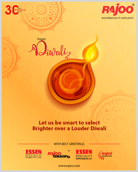 Let us be smart to select Brighter over a Louder Diwali  #HappyDiwali #IndianFestivals #Celebration #Diwali #Diwali2019 #FestivalOfLight #FestivalOfJoy #RajooEngineers #PlasticMachinery #Machines #PlasticIndustry