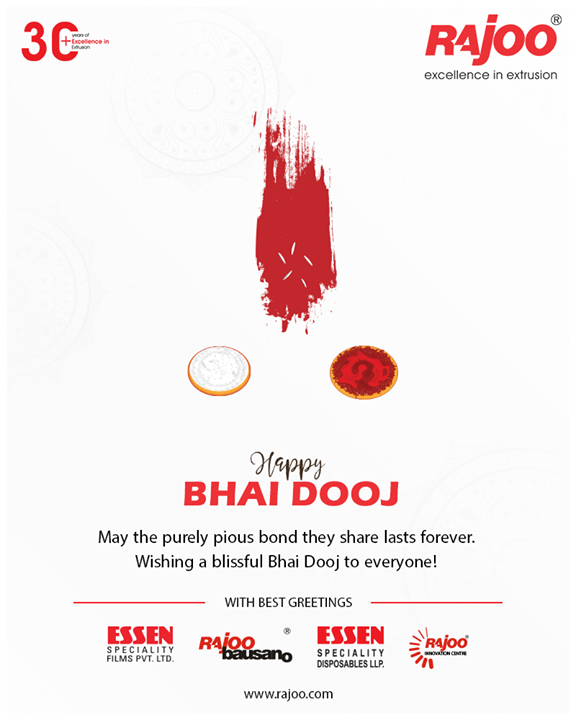May the purely pious bond they share lasts forever. Wishing a blissful Bhai Dooj to everyone!  #BhaiDooj #Diwali2019 #BhaiDooj2019 #Celebration #FestiveSeason #IndianFestivals #BrotherSister #HappyBhaiDooj #RajooEngineers #PlasticMachinery #Machines #PlasticIndustry