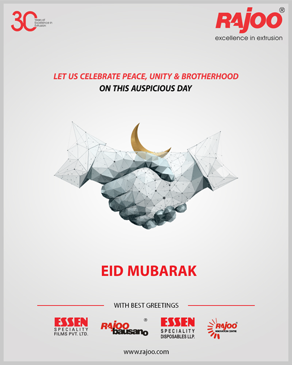 Let us celebrate peace, unity & brotherhood on this auspicious day.  #EideMilad #EidMubarak #RajooEngineers #Rajkot #PlasticMachinery #Machines #PlasticIndustry