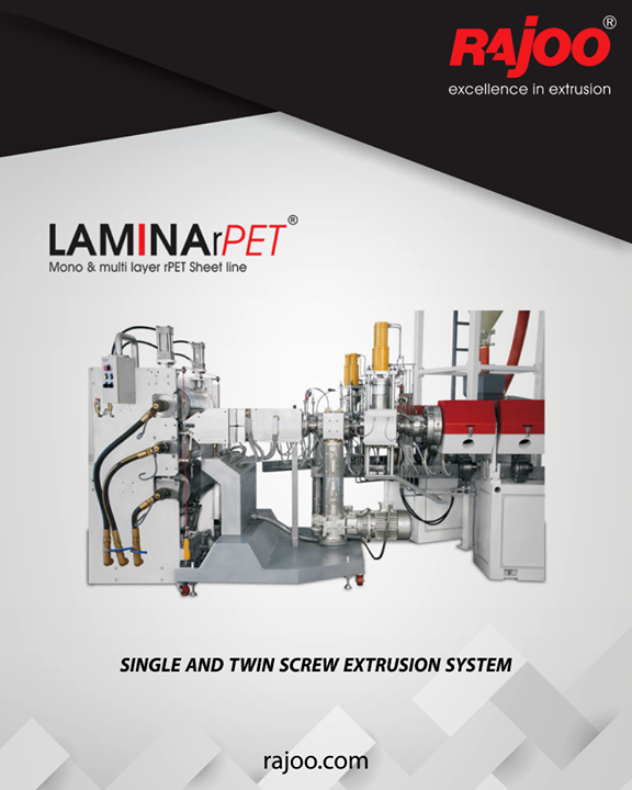 LAMINA rPET sheet lines are established for tremendous operating flexibility with outputs ranging from 300kg/hr to 1000 kg/hr, width ranging from 800mm to 1500mm and thickness ranging from 200 microns to 1500 microns. Centralized controls allowfor production of excellent quality clear and smooth sheets optimize forming productivity, quality and investment with increased energy efficiency and yield.  #RajooEngineers #Rajkot #PlasticMachinery #Machines #PlasticIndustry