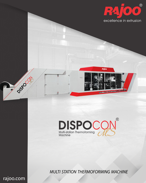The DISPOCON - MS, is a long-awaited product by the disposable container market. With leadership status in the thermoforming market, Rajoo focused on its philosophy of continual product enhancement and introduces this fully automated thermoforming solution that uses sheets of PS/PP/PET and also minimizes human intervention, especially for the labor-intensive stacking and packing. First of its kind in the country, this multi-station the thermoforming machine is designed for disposable containers, dishes, cups, glasses, punnets, etc.  #RajooEngineers #Rajkot #PlasticMachinery #Machines #PlasticIndustry