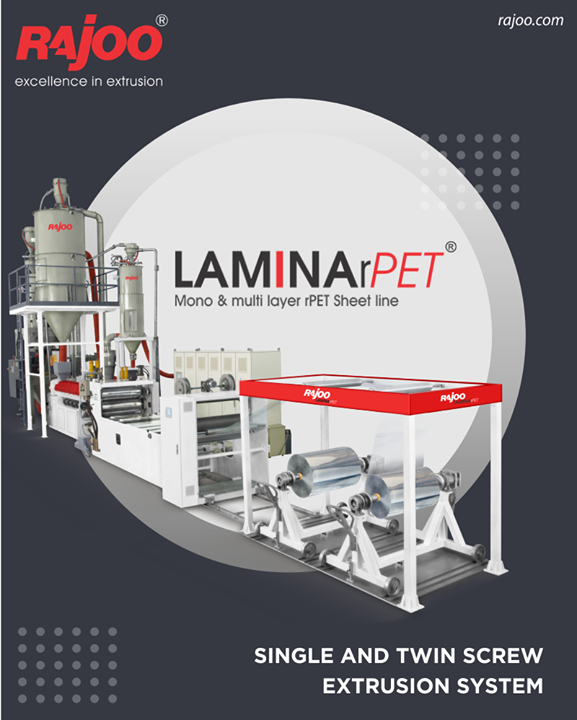 Lamina – rPET sheet extrusion lines are offered with two different type of concepts – Single and Twin screw two layer (ABA) Sheet line to process a high percentage of recycled material. The outer skin layer consist of virgin resins combined with slip additives. Combinations can be PET G/ A-PET / PET G, APET / RPET / APET.  #RajooEngineers #Rajkot #PlasticMachinery #Machines #PlasticIndustry