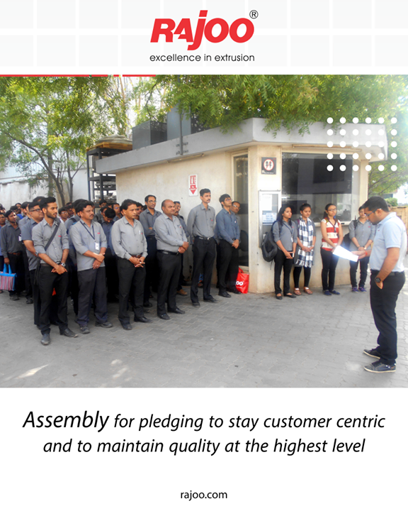 A glimpse of our employee's assembly for pledging to stay customer centric and to maintain quality at the highest level.  #RajooEngineers #Rajkot #PlasticMachinery #Machines #PlasticIndustry