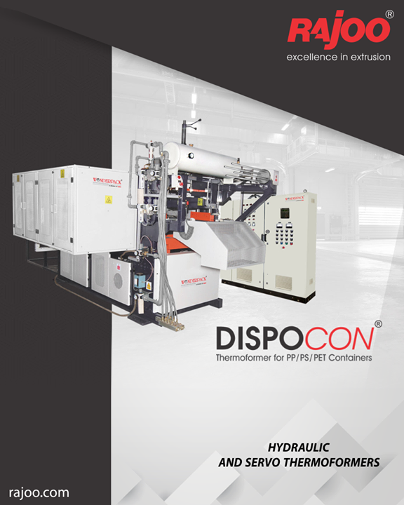 Dispocon Thermoformers are exceptionally sturdy, durable and low maintenance machines firmly established as industry's most energy efficient and least vibrating vacuum formers with patented trim press. The offering includes models of both