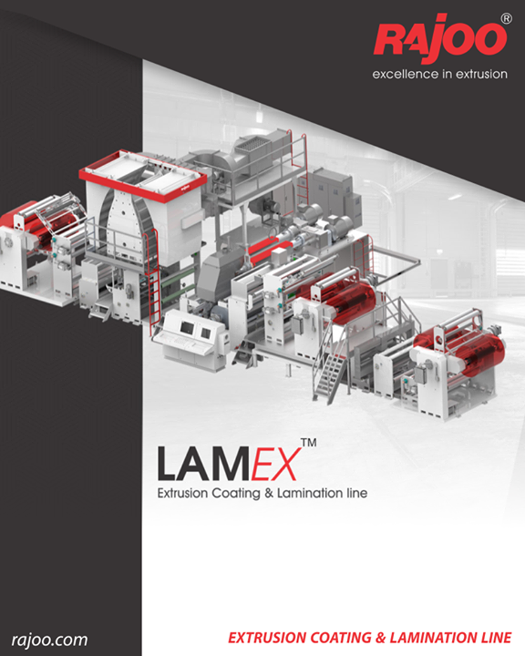 Rajoo offers LamEX – Extrusion Coating and Lamination Line in alliance with Kohli Industries. The best-in-class extrusion and proven web solutions needed to integrated to provide a system that would meet Industry's needs of today and be versatile enough to be adapted for future requirements.  The extrusion coating & Lamination process is an excellent method to combine a thin polymer layer, typically polyethylene with polyester, biaxial oriented polypropylene, paper based materials and aluminium foil.  #RajooEngineers #Rajkot #PlasticMachinery #Machines #PlasticIndustry