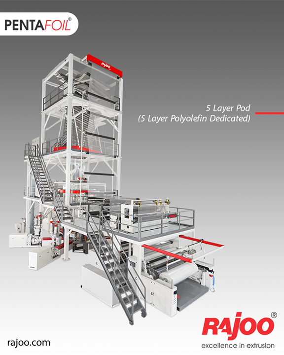 Five Layer co-ex blown film lines are tailored to meet specific needs, for both barrier and non-barrier films for various application segments such as collation shrink films, lamination films, milk and water pouches, edible oils and more with output ranging from 250 kg/hr to 750 kg/hr and lay-flat width ranging from 1200mm to 3000mm.  #RajooEngineers #Rajkot #PlasticMachinery #Machines #PlasticIndustry