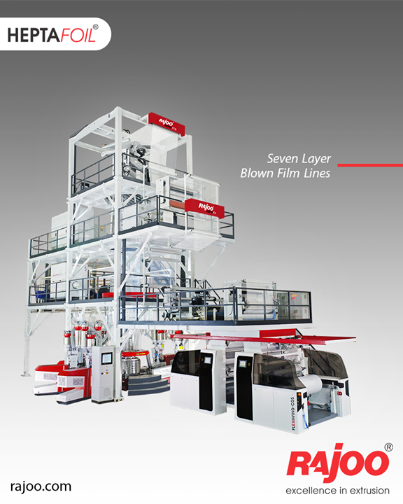 7 Layer Co-Ex blown film lines meet a majority of the industry's packaging development needs. 7 layer co-extruded blown film line is even used for complex packaging solutions with a maximum output of 1500 kg/hour and lay-flat width ranging from 1500mm to 4500 mm to produce both barrier films. The range of applications include films for long shelf life packaging of edible oils, UHT milk, liquid and solid container liners and technical applications. Films for lidding, frozen food packaging, meat packaging and vacuum packaging are also produced on these lines. Both, symmetrical and asymmetrical films are produced with minimum curling also incorporating water-bath for annealing.  #RajooEngineers #Rajkot #PlasticMachinery #Machines #PlasticIndustry