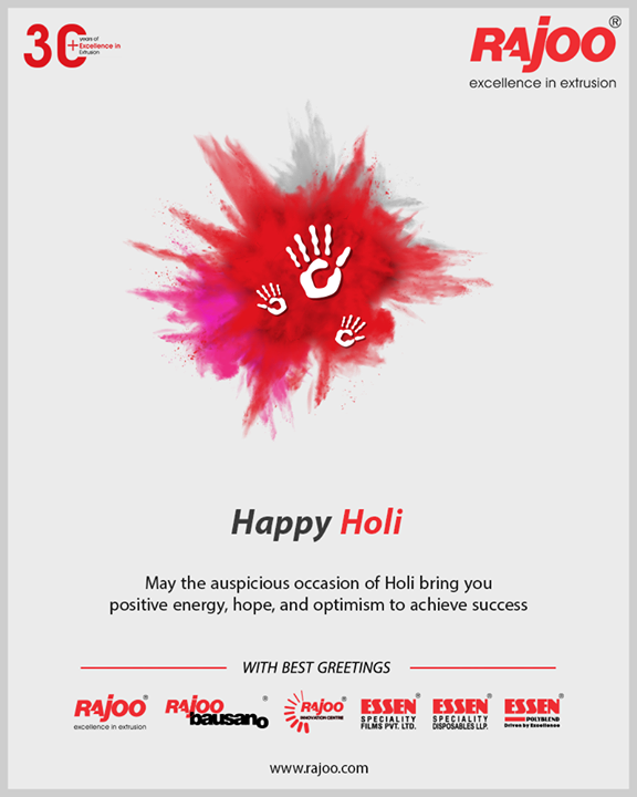 May the auspicious occasion of Holi bring you positive energy, hope, and optimism to achieve success.  #HappyHoli2020 #Holi2020 #HappyHoli #होली #Holi #IndianFestival #RangBarse #Colours #FestivalOfColours #RajooEngineers #Rajkot #PlasticMachinery #Machines #PlasticIndustry