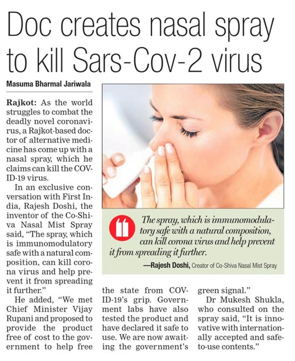 Alternative medicine By Our Chairman Mr Rajesh Doshi  Doc creates nasal spray to kill Sars- Cov-2 virus  The spray, which is immunomodulatory safe with a natural composition, can kill coronavirus and help prevent it from spreading it further.  #InTheNews #RajooEngineers #Rajkot #PlasticMachinery #Machines #PlasticIndustry