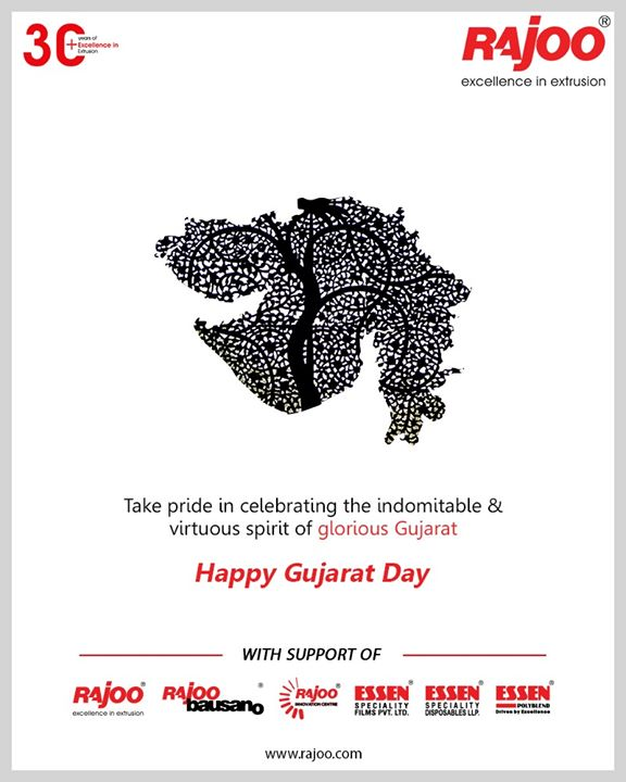 On this special day let us celebrate the progressive journey of the vibrant state.  #HappyGujaratDay #GujaratDay #GujaratFoundationDay #GujaratDay2020 #RajooEngineers #Rajkot #PlasticMachinery #Machines #PlasticIndustry