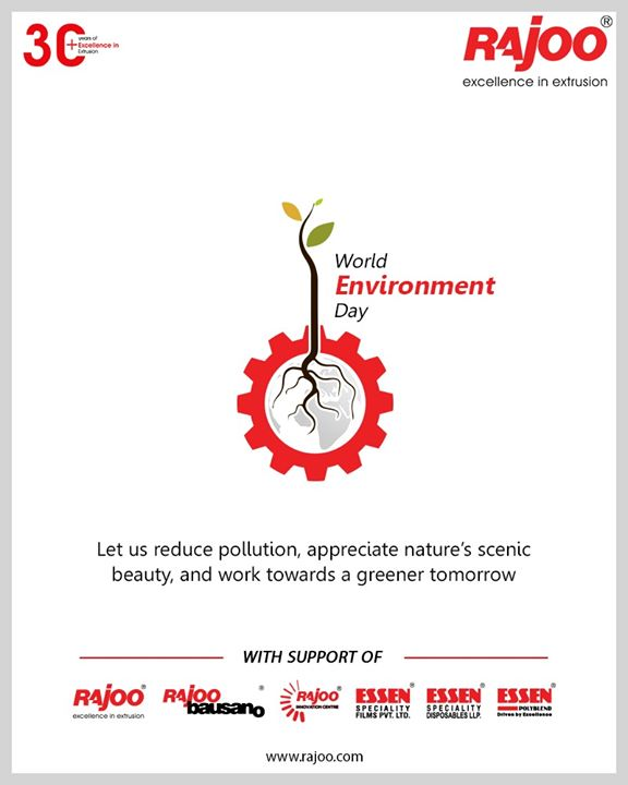 Let us reduce pollution, appreciate nature's scenic beauty, and work towards a greener tomorrow.  #WorldEnvironmentDay #EnvironmentDay2020 #SaveEnvironment #RajooEngineers #Rajkot #PlasticMachinery #Machines #PlasticIndustry