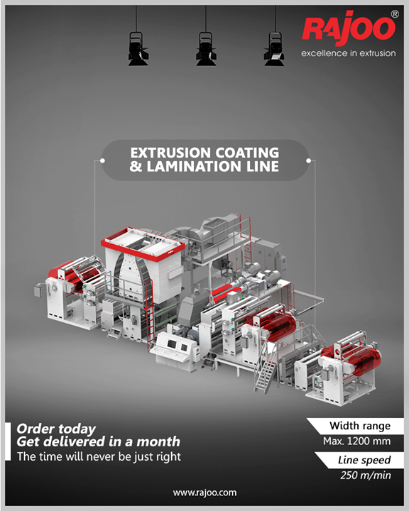 With LAMEX, Rajoo Engineers Limited presents the best in class extrusion coating and lamination line in alliance with Kohli Industries.  LAMEX series of extrusion coating and lamination lines are designed for absolute ease of operation and are available in a host of configurations to suit individual customer's requirements for width range from 800 – 1600 mm, line speed from 250-400 m/min for coating & lamination of various substrates like CPP/BOPET/BOPP/LDPE and sealant films with a range of polymers – PP, LLDPE, LDPE, EVA, EMA, and other exotic polymers.  Order Today and get delivery in a month!  #RajooEngineers #Rajkot #PlasticMachinery #Machines #PlasticIndustry