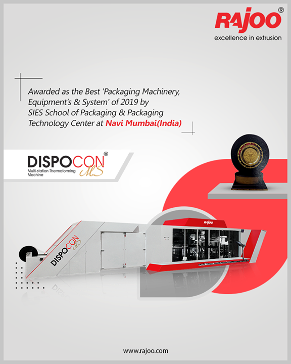 "On 8th February-2020, Rajoo's MULTI-STATION THERMOFORMING MACHINE – DISPOCON-MS has been merited as ""SIES Star Award-2019"" In the Category ""Packaging Machinery, Equipment's & System"" by SIES School of Packaging & Packaging Technology Center at Navi Mumbai(India).  #RajooEngineers #Rajkot #PlasticMachinery #Machines #PlasticIndustry"