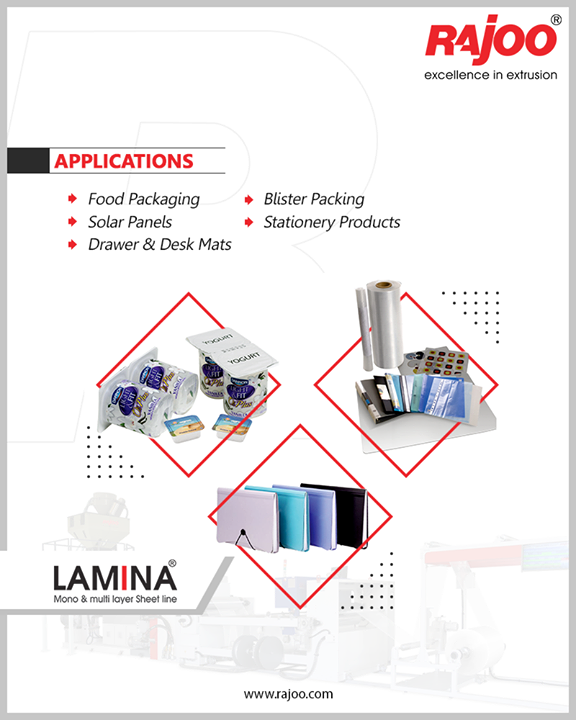 Lamina mono and multilayer sheet line has a plethora of applications ranging from thermoformable HIPS/PP/PA/EVOH sheet for food packaging to back sheet for solar panels to stationery files, folders, and pouches.  #RajooEngineers #Rajkot #PlasticMachinery #Machines #PlasticIndustry