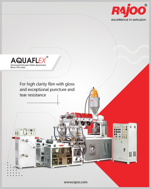 AQUAFLEX downward blown film line for high clarity film with gloss and exceptional puncture and tear resistance.  #RajooEngineers #Rajkot #PlasticMachinery #Machines #PlasticIndustry
