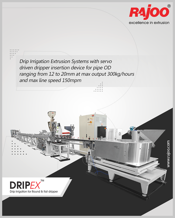 Drip Irrigation Extrusion Systems with servo driven dripper insertion device for pipe OD ranging from 12 to 20mm at max output 300kg/hours and max line speed 150mpm.  #RajooBausano #RBE #Engineering #Excellence #CompositeExtrusion #Technology #Infrastructure #PlasticExtrusionMachinery