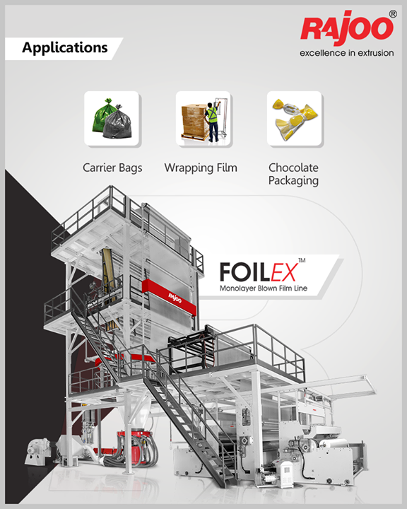 FOILEX by Rajoo Engineers Limited has a plethora of applications like general-purpose film, HDPE pick-up bag, Shade-net film, Lamination grade film, HD twist wrap film, Stretch and cling film, Shrink film, Anti-rust film, and Paper-like film.  #RajooEngineers #Rajkot #PlasticMachinery #Machines #PlasticIndustry
