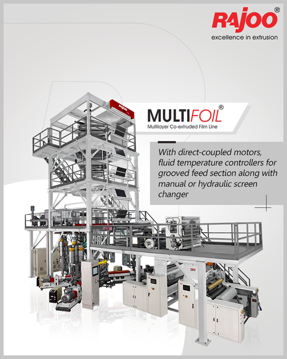 Multifoil – 3 layer blown film extruders are offered with direct-coupled motors, fluid temperature controllers for grooved feed section along with manual or hydraulic screen changer.  #RajooEngineers #Rajkot #PlasticMachinery #Machines #PlasticIndustry