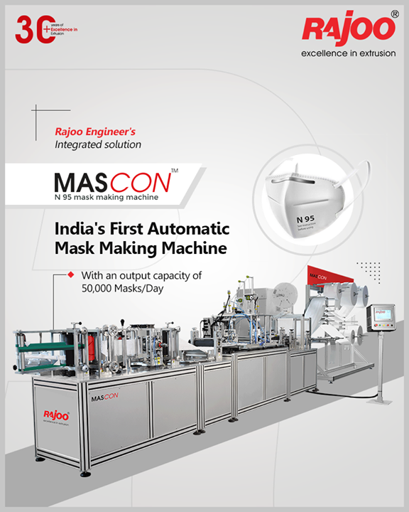 Rajoo Engineers Limited's Revolutionary Solution for COVID-19 - MASCON, India's premier automatic mask-making machine with an output capacity of 50,000 masks per day.  #IndiaFightsCorona #Coronavirus #RajooEngineers #Rajkot #PlasticMachinery #Machines #PlasticIndustry
