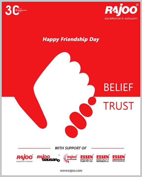 Happy Friendship Day!!  #FriendshipDay #FriendshipDay2020 #HappyFriendshipDay #Friends #RajooEngineers #Rajkot #PlasticMachinery #Machines #PlasticIndustry #PlasticSheet #PlasticFilm