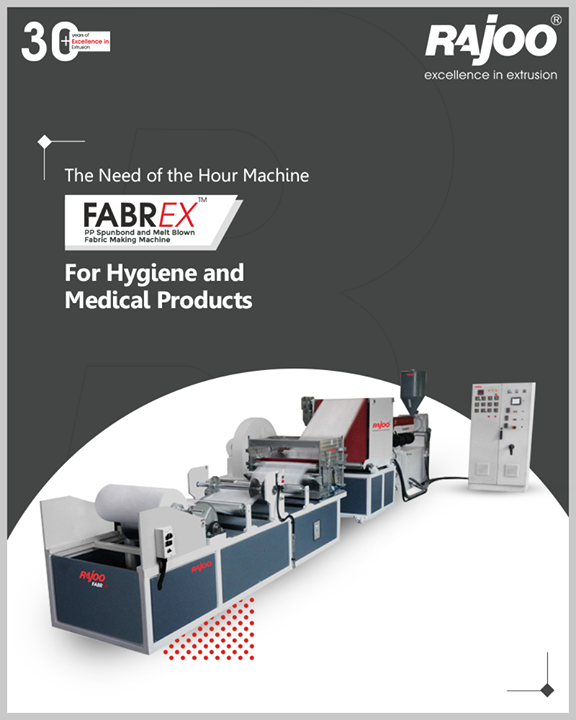 Rajoo Engineers' innovative solution to battle the pandemic situation - Fabrex, Melt Blown Fabric Making Machine which can manufacture Medical products like Surgeon's mask, N-95 masks/respirators, Disposable garments, Surgical drapes, Shoe covers, and more.  #IndiaFightsCorona #Coronavirus #RajooEngineers #Rajkot #PlasticMachinery #Machines #PlasticIndustry