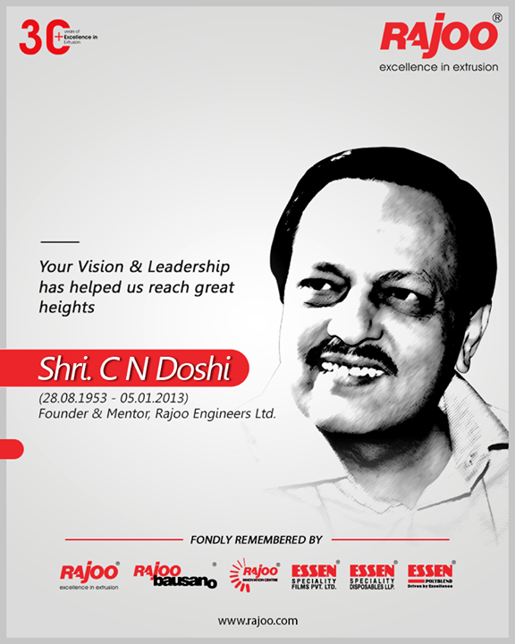 Your Vision & Leadership has helped us reach great heights.  Your ethics, down-to-earth personality, business acumen, and positive teachings are still alive & inspire us towards delivering excellence.  #CNDoshi #Excellence #RajooEngineers #Rajkot #PlasticMachinery #Machines #PlasticIndustry