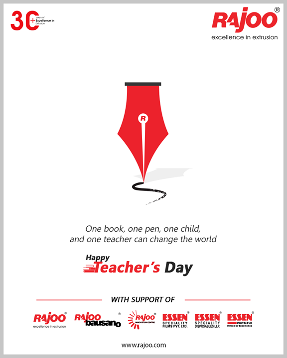 One book, one pen, one child, and one teacher can change the world.  #HappyTeachersDay #TeachersDay #Guru #TeachersDay2020 #ShriSarvepalliRadhakrishnan #RajooEngineers #Rajkot #PlasticMachinery #Machines #PlasticIndustry