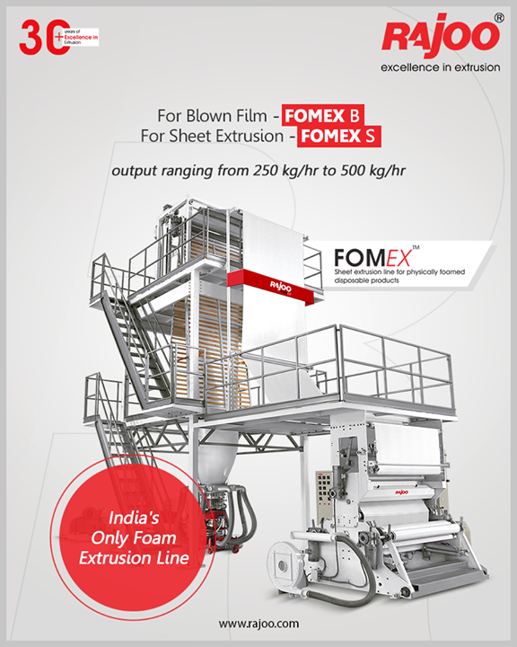 Rajoo Engineers Limited has done pioneering developments in polymer foam extrusion in India and has emerged as the only supplier for foam extrusion lines christened Fomex using both blown film (Fomex – B) and sheet extrusion (Fomex – S) process using either chemical or physical foaming.   Rajoo Engineers Limited offers foam extrusion solutions to produce foam with a low density of 0.02 kg/m3 to medium density of 0.22 kg/m3 and also high-density foam with a density of 0.45 kg/m3.   The output ranges from 250kg/hr to 500kg/hr with features including a high-pressure gas injection system, patented air ring, and easy change cooling mandrel with take-off and sheet winder.  #RajooEngineers #Rajkot #PlasticMachinery #Machines #PlasticIndustry