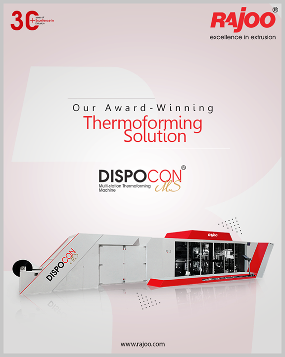 Dispocon MS for disposable containers, dishes, cups, glasses, punnets, etc. consists of 4 stations  – Unwinding Station, Forming Station, Cutting Station & Stacking station, resulting in increased capacity, faster cycle time, and low electricity consumption compared to a single station or shuttle type machine.  #RajooEngineers #Rajkot #PlasticMachinery #Machines #PlasticIndustry