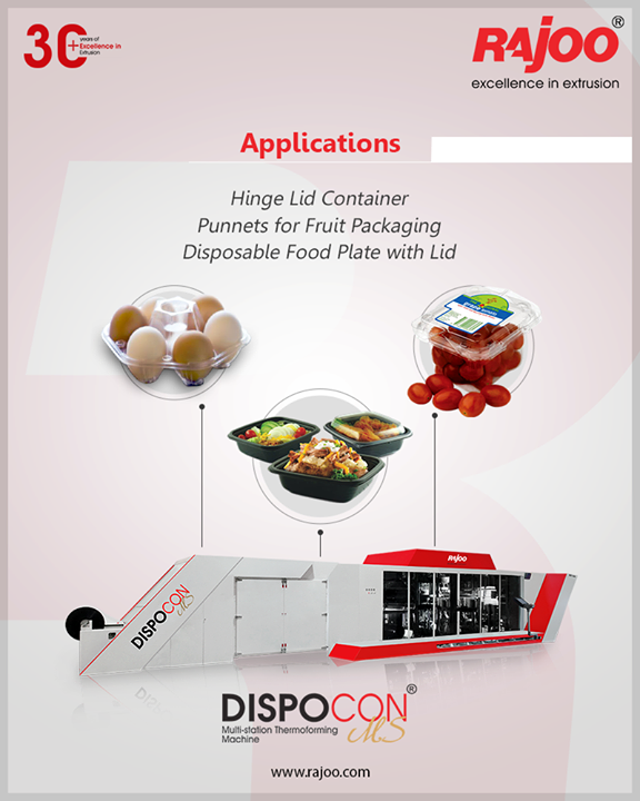 Our award-winning Dispocon MS is efficient for making Hinge Lid Container Punnets for Fruit Packaging Disposable Food Plate with Lid.  For Inquiries, call 9712932706  #RajooEngineers #Rajkot #PlasticMachinery #Machines #PlasticIndustry