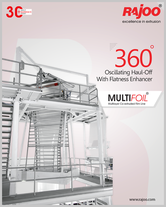 The haul-off with a flatness enhancer that comes in the Multifoil by Rajoo Engineers Limited offers 360 oscillation.  #RajooEngineers #Rajkot #PlasticMachinery #Machines #PlasticIndustry #PlasticSheet #PlasticFilm