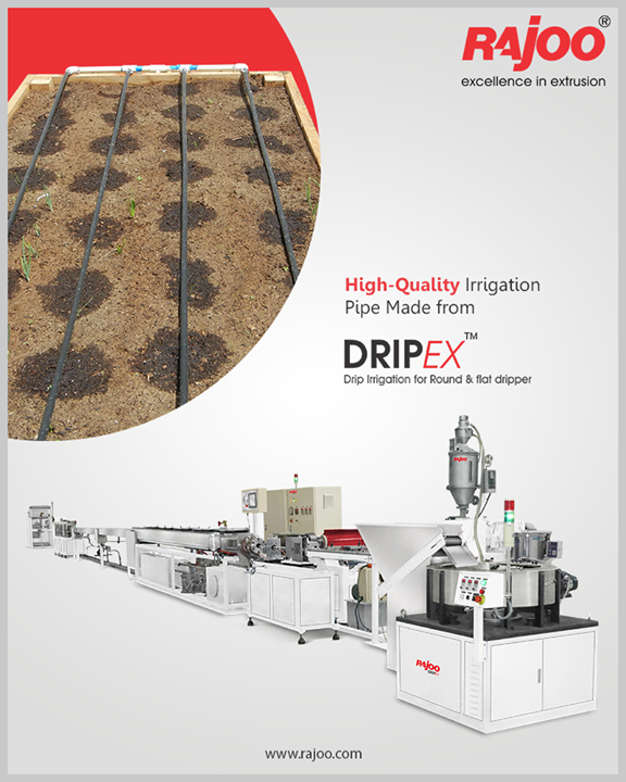 Rajoo Engineer's Drip Irrigation Extrusion Systems - with servo driven dripper insertion device for pipe OD ranging from 12 to 20mm at max output 300kg/hours and max line speed 150mpm.  #RajooEngineers #Rajkot #PlasticMachinery #Machines #PlasticIndustry