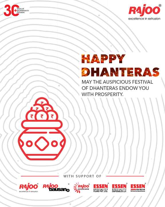 May the auspicious festival of Dhanteras endow you with prosperity.  #Dhanteras #Dhanteras2020 #ShubhDhanteras #IndianFestivals #DiwaliIsHere #Celebration #HappyDhanteras #FestiveSeason #RajooEngineers #Rajkot #PlasticMachinery #Machines #PlasticIndustry