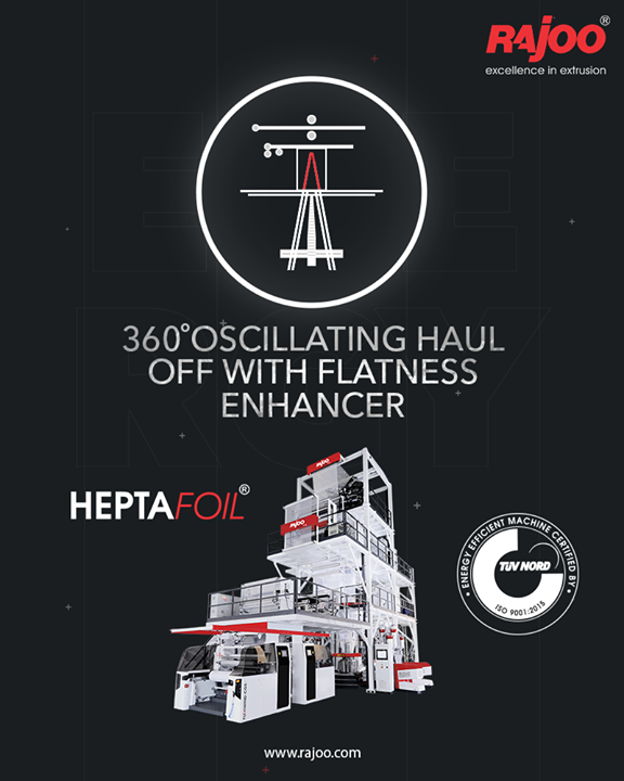 Heptafoil, the TUV Nord certified energy-efficient machine meets a majority of the industry's critical packaging development needs. It is even used for complex packaging solutions with a maximum output of 1500 kg/hour and lay-flat width ranging from 1500mm to 4500 mm to produce both barrier films and non-barrier films.   #RajooEngineers #Rajkot #PlasticMachinery #Machines #PlasticIndustry