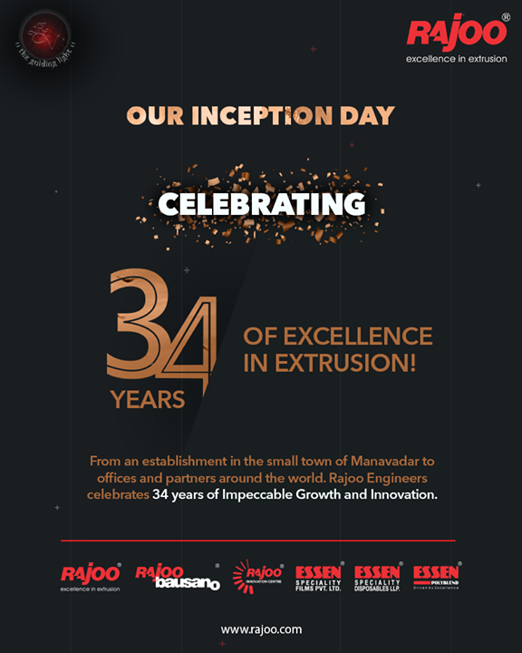 From an establishment in the small town of Manavadar to offices and partners around the world. Rajoo Engineers Ltd celebrates 34 years of Impeccable Growth and Innovation.  #34Years #34Yearsofexcellence #34Yearsofinnovation  #RajooEngineers #Rajkot #PlasticMachinery #Machines #PlasticIndustry