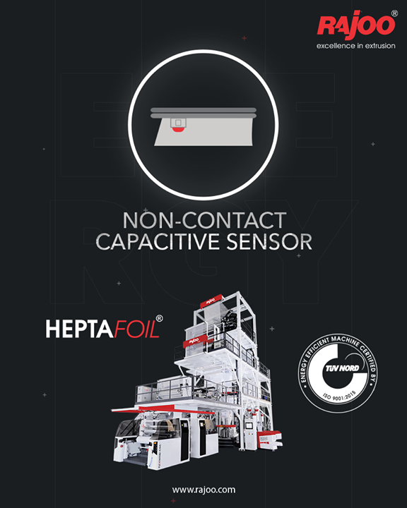 Our 7 Layer Blown Film Line Extruder - Heptafoil is equipped with the highly beneficial Non-Contact Captive Sensor.  #RajooEngineers #Rajkot #PlasticMachinery #Machines #PlasticIndustry