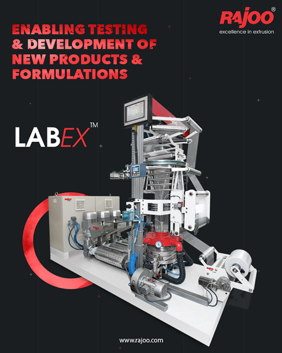 LabEX - Lab Equipment combo can be used as a laboratory line for testing and developing new formulations and products. It is equipped with an innovative & one of a kind in the whole world barrier sheet cum blown film line. The machine consists of four extruders, screen changers, melt pumps, flat sheet die, Universal Co ex Five Layer blown film die head UCD® and fully automatic touchscreen-based integrated process control panel to give an output of up to 75 kg/hr. of co-extruded barrier sheets or films.  #RajooEngineers #Rajkot #PlasticMachinery #Machines #PlasticIndustry